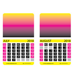 Calendar grid july august vector