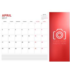 Calendar planner template for april 2017 week vector