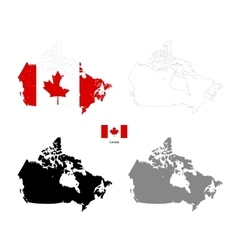 canada country black silhouette and with flag vector image