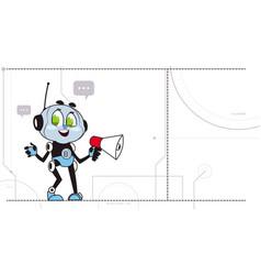 chatbot hold megaphone robot support technology vector image