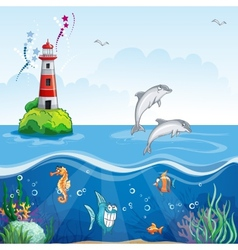 Children lighthouse and sea dolphins vector