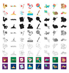 Children toy cartoon icons in set collection vector