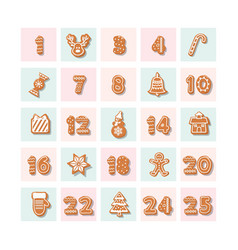 Christmas advent calendar decorated wirh vector