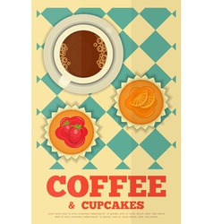 Coffee and Orange and Strawberry Cupcakes vector image