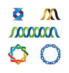 collection of glossy ribbon template vector image
