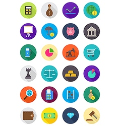 Color round economy icons set vector
