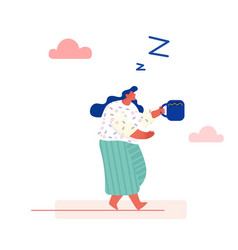 Concept time management sleepy woman drinking vector