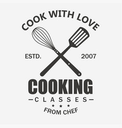 cooking symbol cook emblem food masterclass vector image