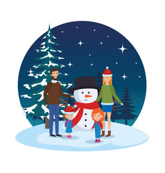 couple with daughters and snowman in snowscape vector image