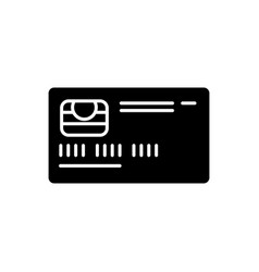 Credit card front black glyph icon vector