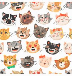 Cute cats seamless pattern kitten muzzles vector