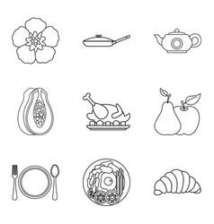debauchery icons set outline style vector image