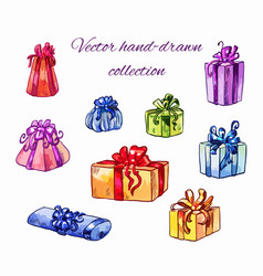 Different gifts in a bright package with colored vector
