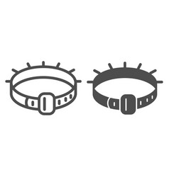 Dog collar line and glyph icon pet collar vector