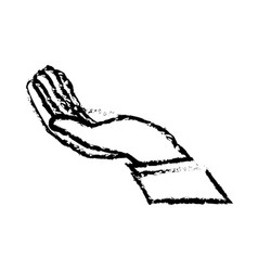 Drawing hand man support help icon vector
