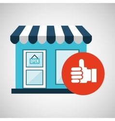 E-commerce store building hand like design vector