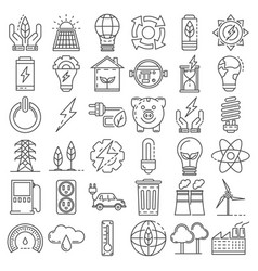 energy saving icon set outline style vector image