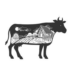 farm landscape in cow silhouette sketch vector image