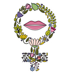 Female gender symbol with flowers and lips pop art vector