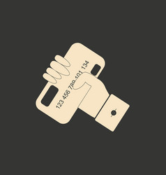 flat black and white bank card in hand vector image