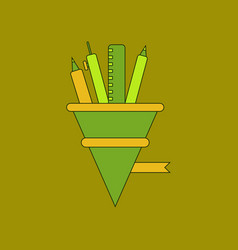 Flat icon thin lines pencil pen ruler vector