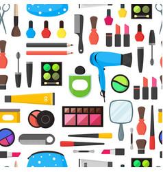 flat make up tools cosmetics mascara and brushes vector image