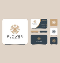 flower mono line luxury logo with business card vector image