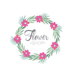 Flower shop colorful logo template with wreath vector