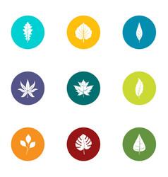 foliage icons set flat style vector image