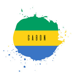gabon watercolor national country flag icon vector image