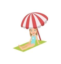 Girl On The Beach Sitting Under Umbrella vector