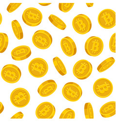 Gold bitcoins seamless pattern on white background vector