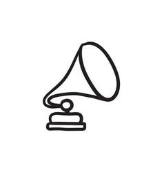 gramophone sketch icon vector image