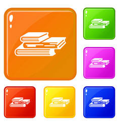 Graph finance book icons set color vector