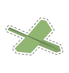 Green paper plane business symbol start cut line vector