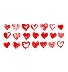 hand drawn valentine hearts vector image