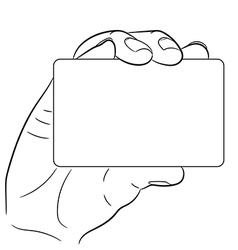 hand holding a plastic card on white background of vector image
