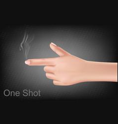 Hand making gesture shooting gun vector