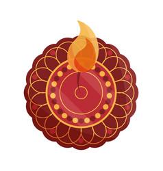 happy bhai dooj mandala floral burning flame vector image