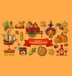 happy thanksgiving set colorful cartoon vector image