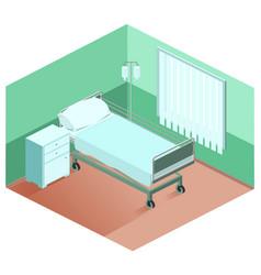 Hospital ward bed bedside table dropper medical vector