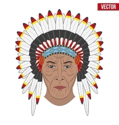 Indian chief in a feathered hat Front view vector