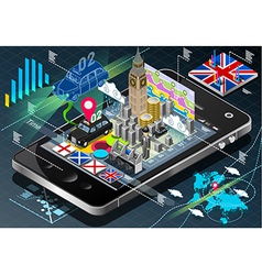 isometric infographic great britain on mobile vector image