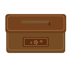 leather purse with zipper decorated with flowers vector image