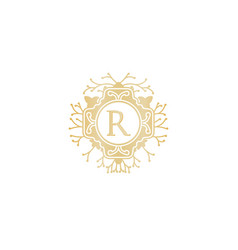 Letter r initial logo for wedding boutique luxury vector