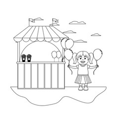 line carnival shop and happy girl with balloons vector image