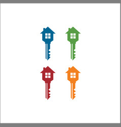 Logo design element key amp house icon vector