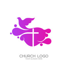 Logo in the form of bubbles the cross of jesus vector