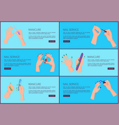Manicure and nail service set vector