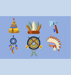 native american indian symbols set ethnic design vector image